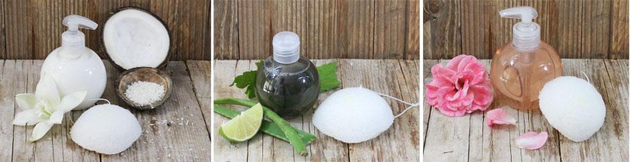 Eponge Konjac accompagnée de produits Aroma-Zone