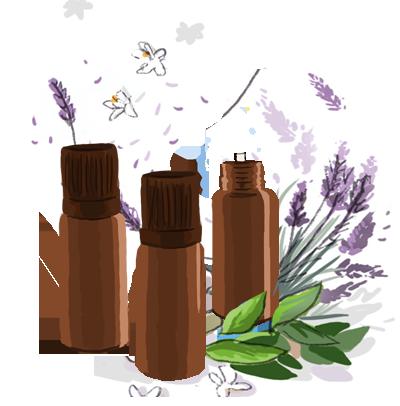 flacons huiles essentielles contre les escarres