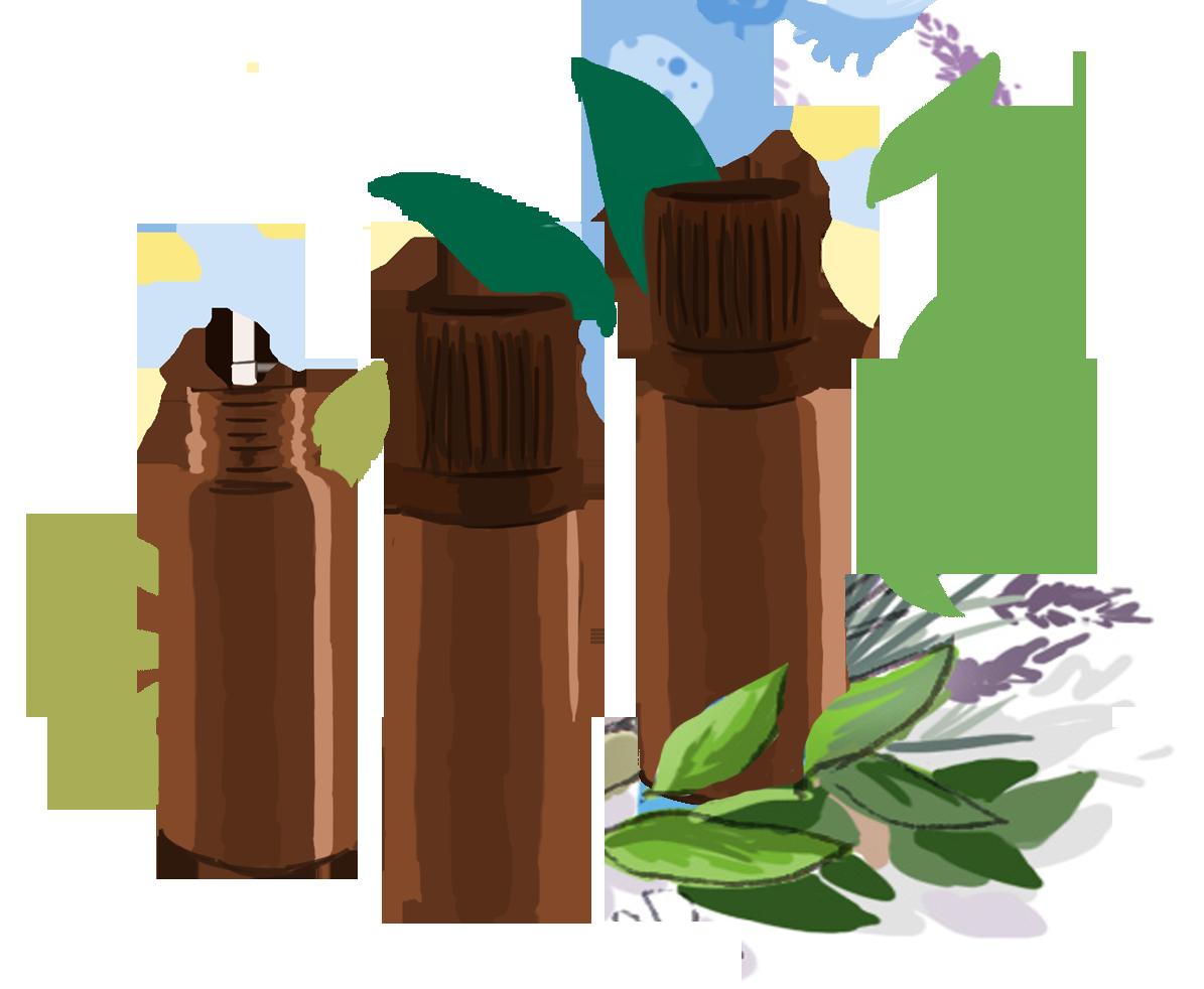 Illustration de flacons d'huiles essentielles contre les aphtes