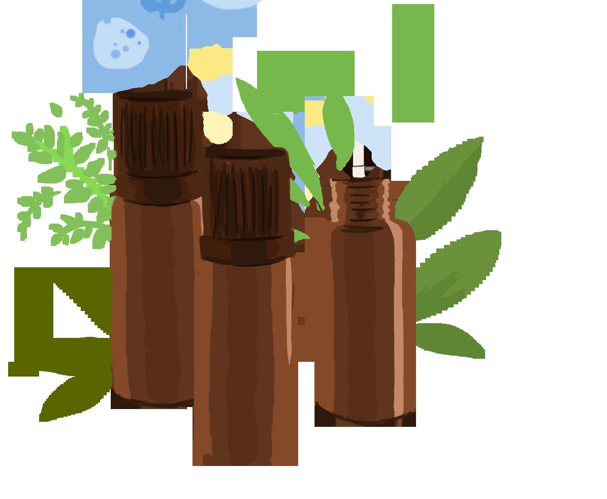 Flacon d'huiles essentielles pour lutter contre la gastro
