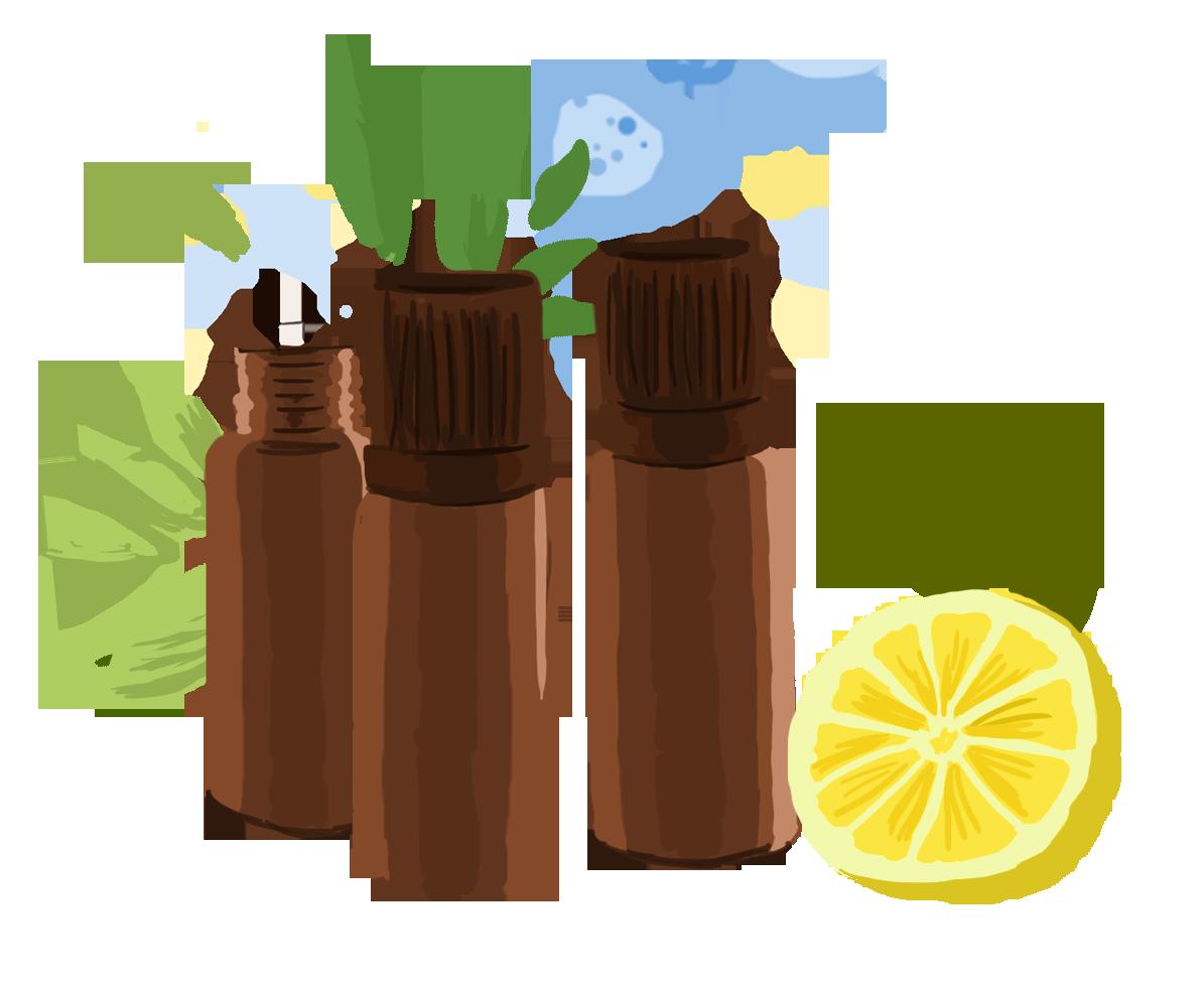 Flacons d'huiles essentielles contre le mal des transports