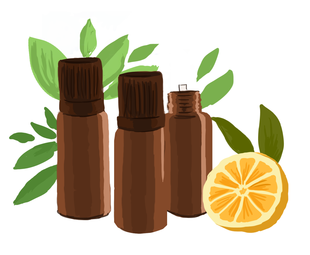 Flacon d'huiles essentielles pour aider à la concetration en période d'examens