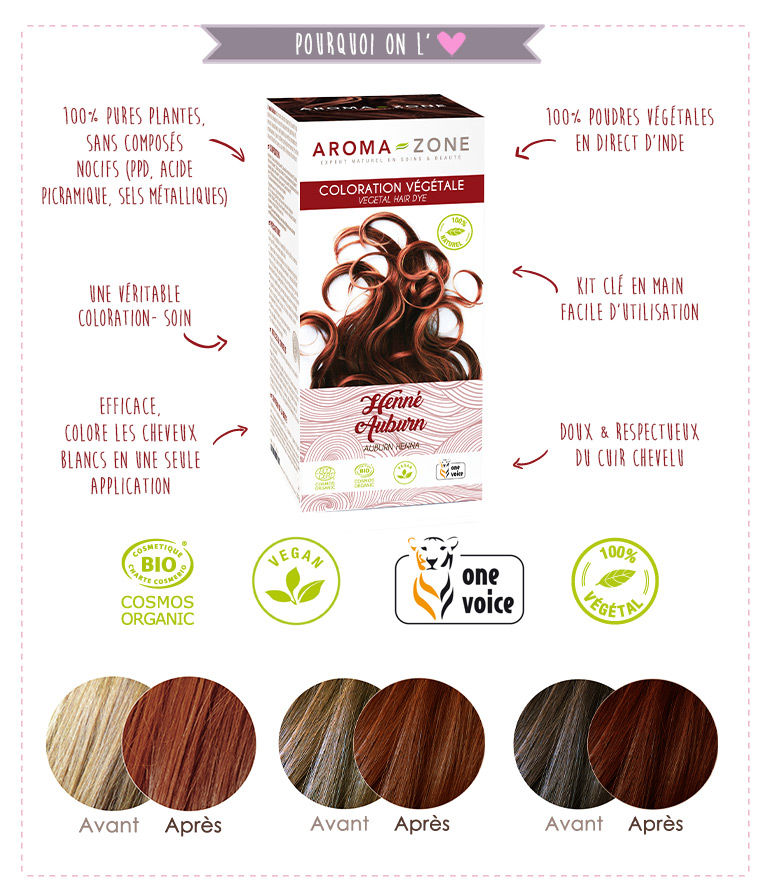coloration végétale henné caramel BIO aroma-zone