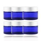 6 pots verre bleu 50 ml capsule argent ma