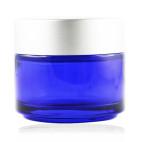 Pot verre bleu 100 ml capsule argent mat